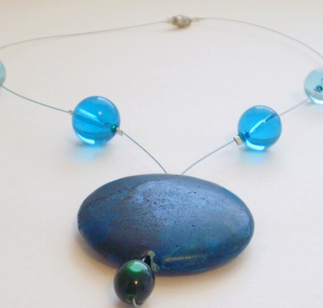 Blue Stone Pendant Necklace with Glass Beads