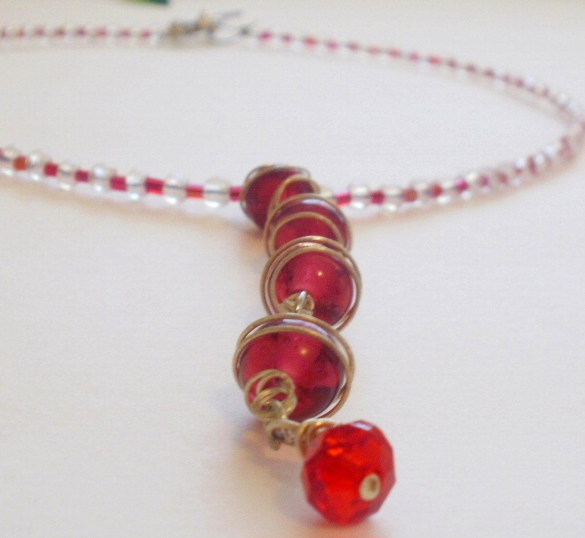 Wire Wrapped Bead Necklace in Red